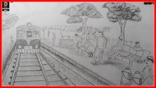 How to draw train station sketch step by step