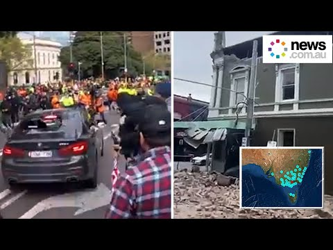 Melbourne in chaos: police brace for more protests as earthquake strikes