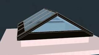 Зенитный фонарь 3200x3200мм. 3D визуализация.(Выполним 3D визуализацию сложных пространственных конструкций (зимние сады, зенитные фонари, пирамиды,..., 2012-10-02T18:40:14.000Z)