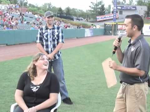 a unique wedding proposal during the valleycats game