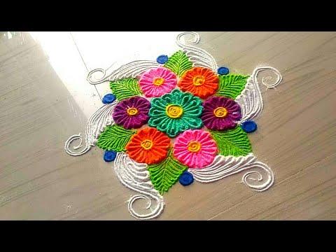 How to make easy & simple/unique Beautiful rangoli designs by Jyoti Rathod,rangoli,festival rangoli