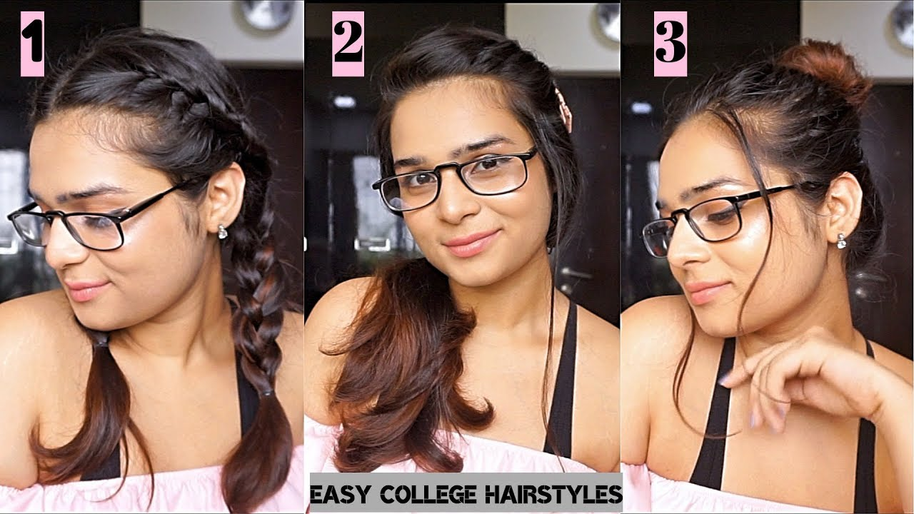 3 Easy Cute College Hairstyles For Girls With Short Hair Glasses Thatlookyoulove Youtube