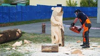 Выпилил Медведя из Дерева!(Областные соревнования профессионального мастерства лесорубов с моторными пилами
