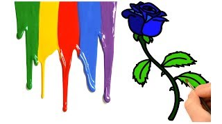 How to Draw Beautiful Blue Rose Coloring Learn for Kids Step by Step Easily Rose Draw Painting Art