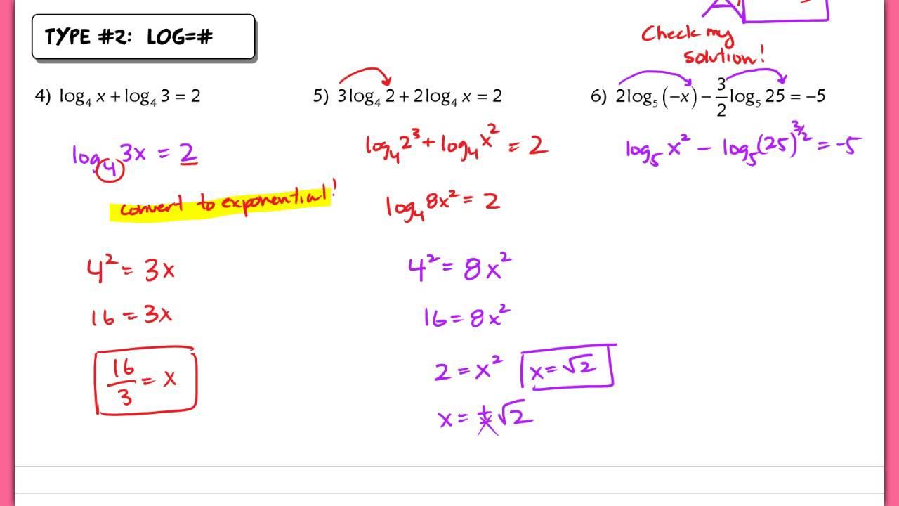 6.10 Solving Log Equations   YouTube