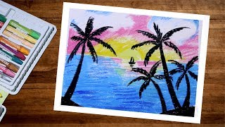 Landscape Sunset Scenery Drawing With Oil Pastel | Oil Pastel Drawing For Beginners