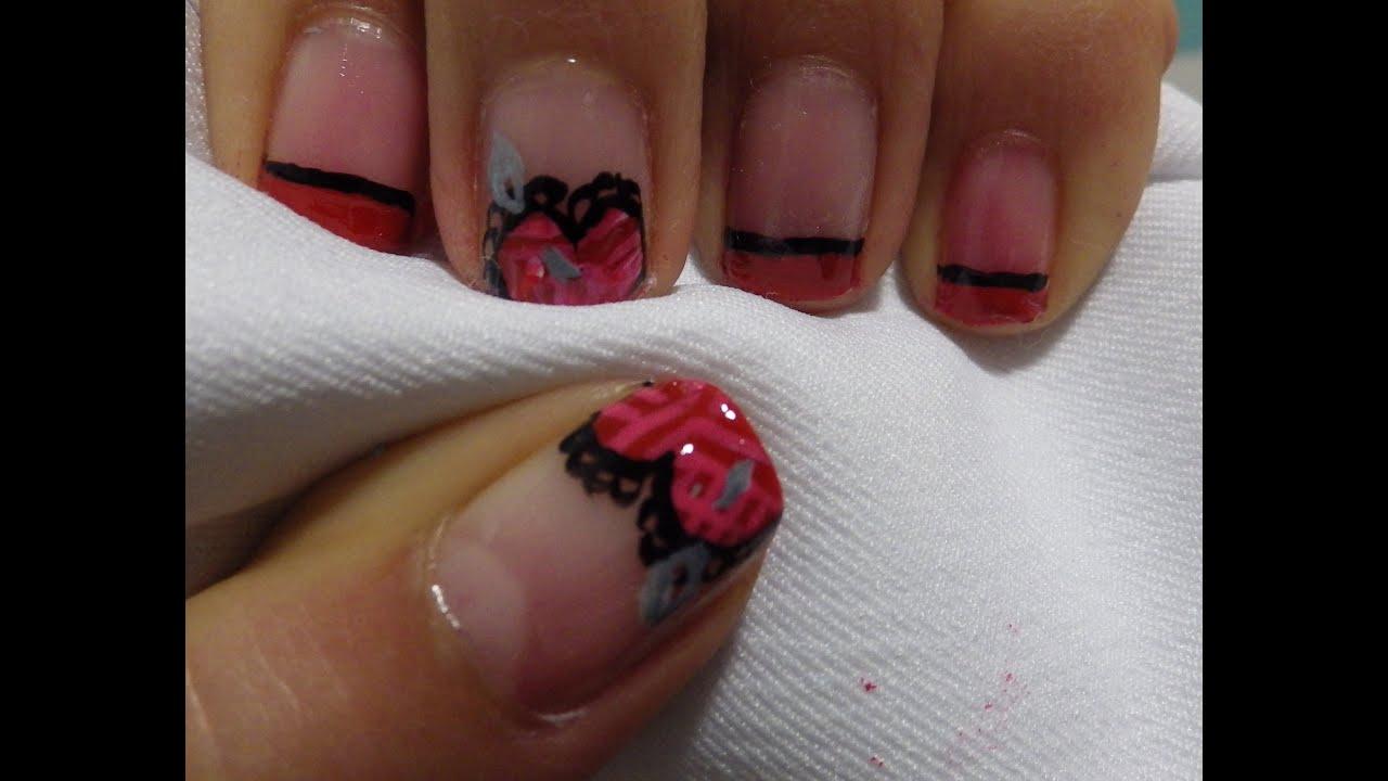 Diseño de uñas san valentin corazón con encanjes // Valentine\'s day ...
