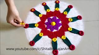 Super Easy and Creative Rangoli Designs Using Fork# Quick Rangoli by Shital Mahajan.