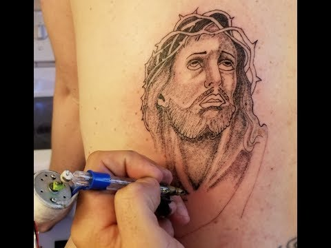 JESUS TATTOO with a HOMEMADE PRISON TATTOO MACHINE and INK (time lapse)
