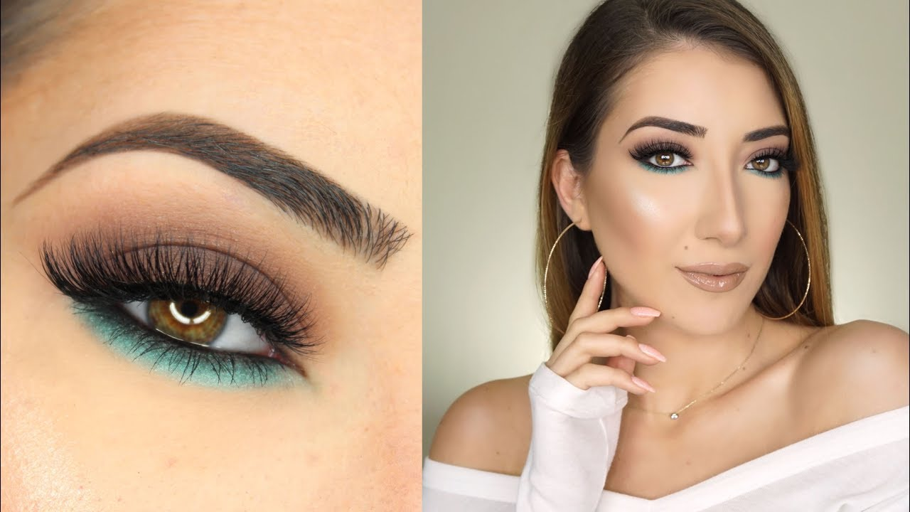Brown And Turquoise Smokey Eye Makeup Tutorial Youtube