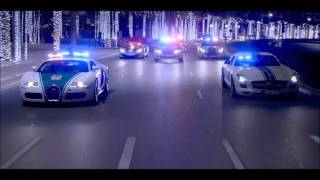 Dubai Police supercars patrolling the streets