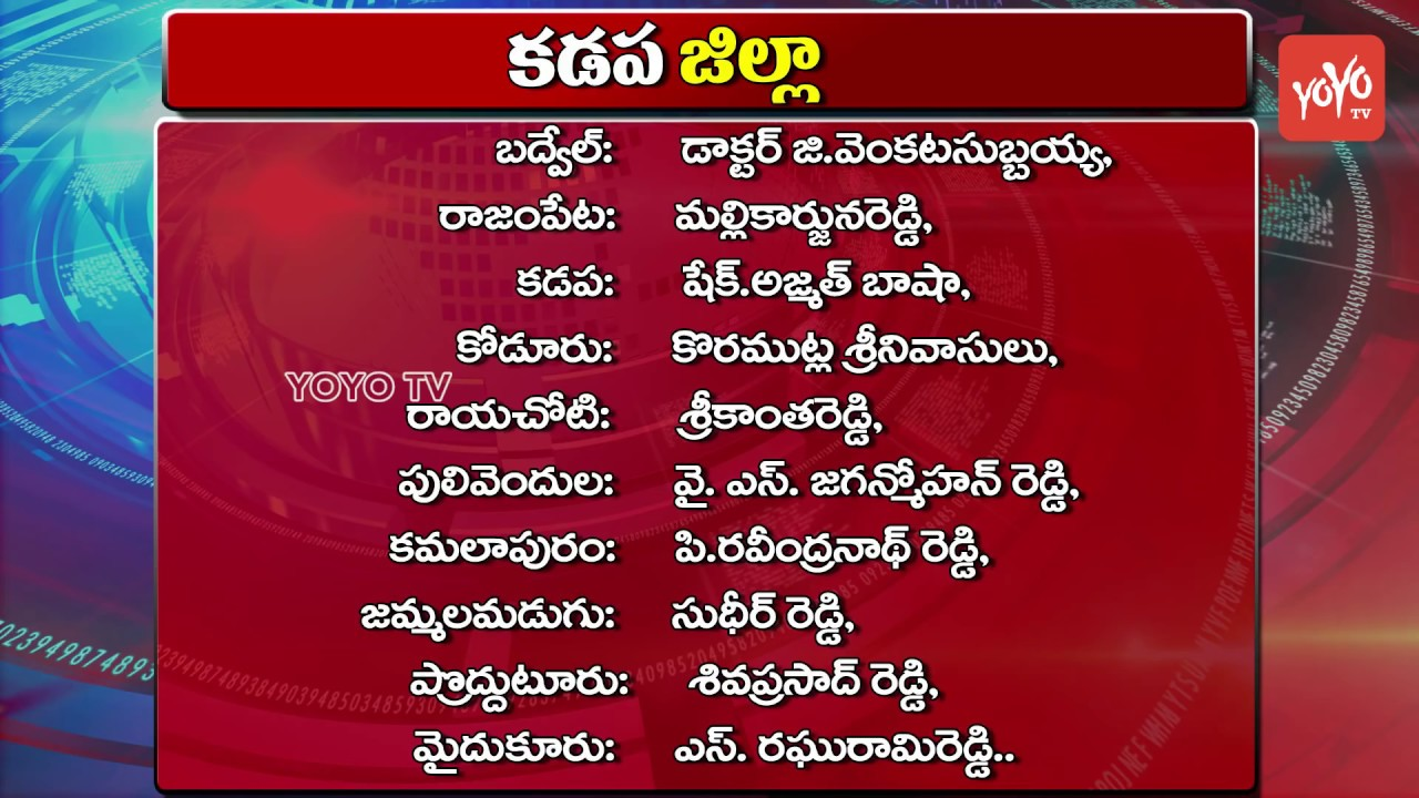ysrcp mla candidates district wise list for ap elections 2019 ys jagan yoyo tv channel