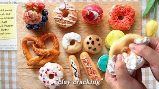 ⭐ (ENG SUB) 부수는 쾌감, '달콤한 디저트' 점토부수기! 🍩🍓 | clay cracking, clay crack, clay popping, 粘土割れ  [사과 ASMR] ⭐