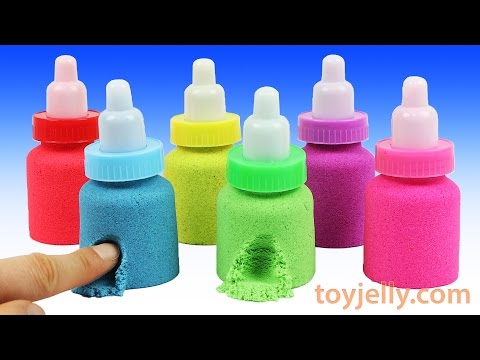Thumbnail: Kinetic Sand Baby Milk Bottle Learn Animals Play doh Modelling Clay Disney Cars Molds Cookie Cutters