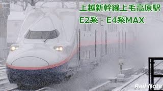 美しい雪の高速通過 上越新幹線上毛高原駅とE2系・E4系Max/Beautiful high-speed passing ! Joetsu Shinkansen Jomo-kogen Station