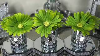 DOLLAR TREE DIY GLAM CENTERPIECE AND CRUSHED GLASS CANDLE HOLDERS #BLINGQUEEN