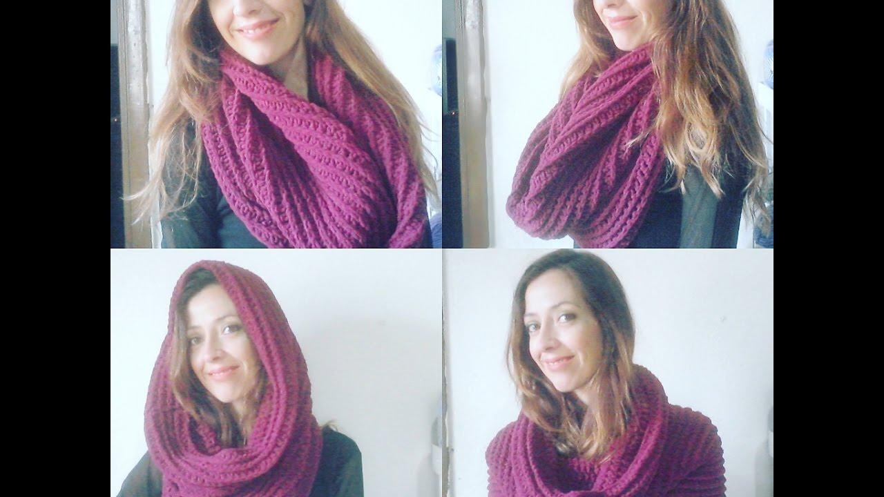 05157719c0fea Maxi Gola ou Touca Gola em croche   Crochet hooded infinity scarf ...