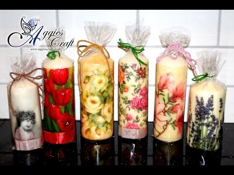 Decoupage tutorial - decorating candles with napkins