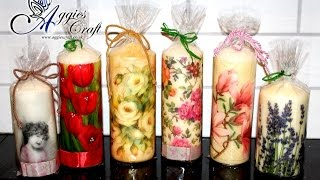 Decoupage tutorial – decorando velas com guardanapo