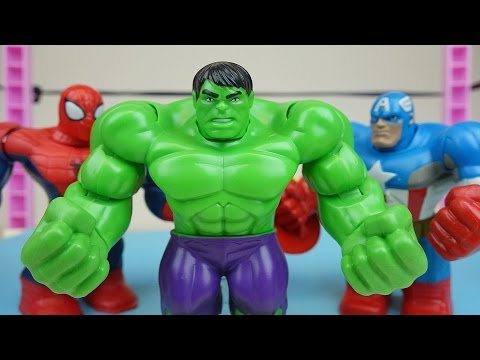 Hulk vs Spider man and Super heroes Robocar Poli toys