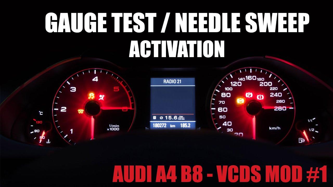 Audi A4 B8 Vcds Mod 1 Needle Sweep Gauge Test Youtube