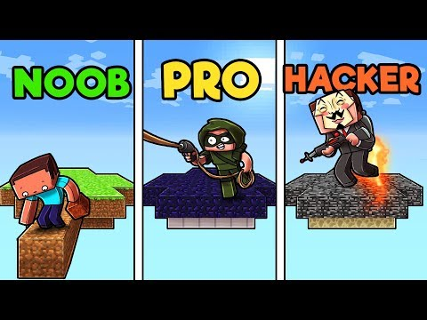 Minecraft - NOOB vs PRO vs HACKER - SKYWARS WITH GUNS!