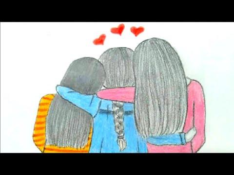 تعلم رسم صديقات رسم سهل تعليم رسم بنات بقلم الرصاص رسم بنات سهل تعليم رسم الشعر خطوة بخطوة Youtube