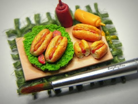 Miniature hot dog tutorial polymer clay youtube for Polymere cuisine
