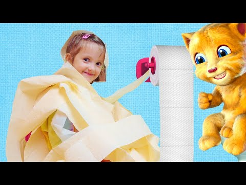 Ksysha and Funny Cat eats Breakfast and Plays together for Kids