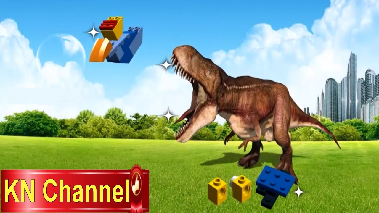 Animals Cartoons for Children,Dinosaur chasing the lego bird | Dance song with the gummy bear