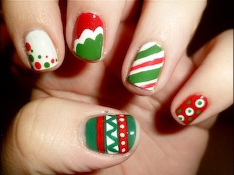 5 easy red green christmas nail designs - Red Christmas Nails