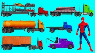 Learn Trucks with Spiderman l Truck compilation l Cartoon & nursery Rhymes songs for Kids