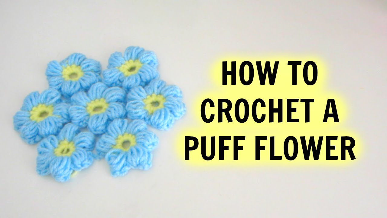 How To Crochet A Puff Flower Youtube Rose Diagram Flowers 7