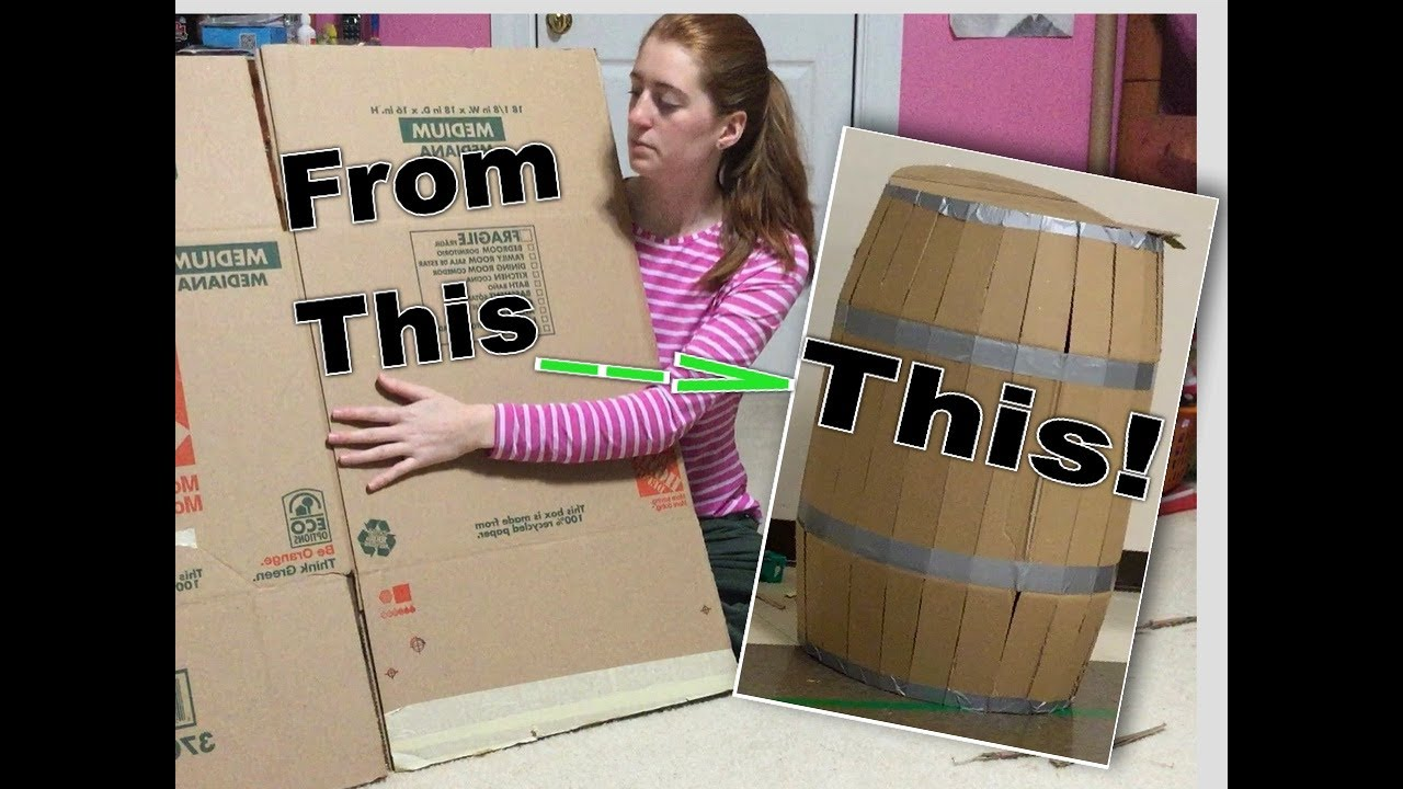 diy barrel made from cardboard box easy tutorial youtube