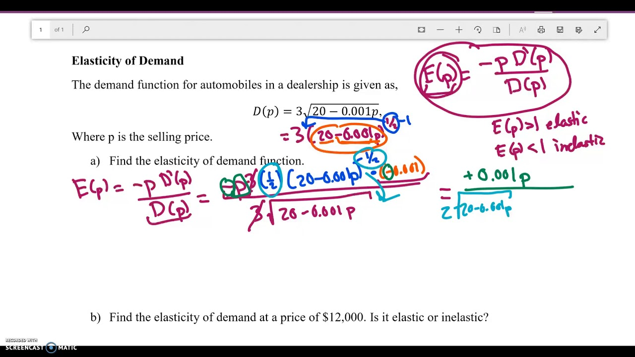 Math 121 Elasticity Of Demand With Calculus Youtube