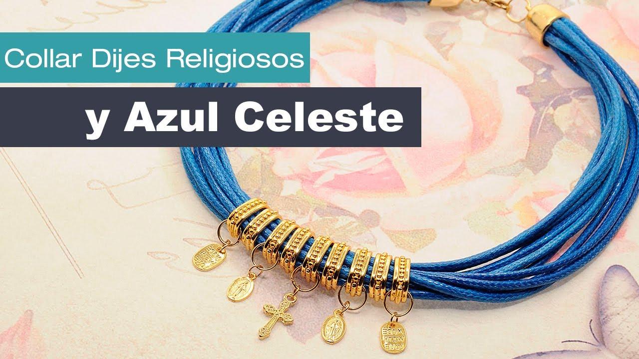 30ae7c407150 Aprende Cómo Hacer un Collar Dijes Religiosos y Azul Celeste Variedades y  Fantasías Carol