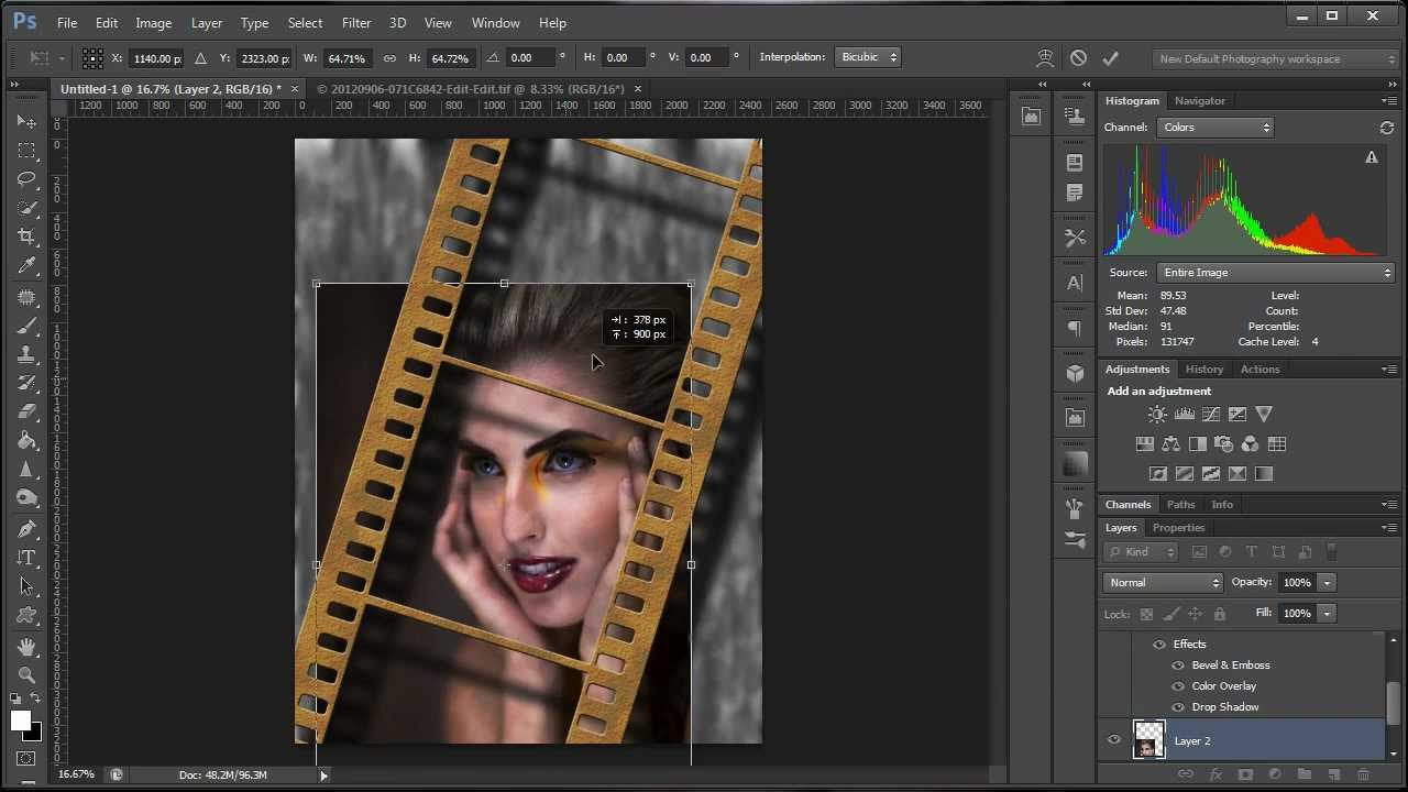 How To Create A Film Strip Effect In Photoshop Youtube