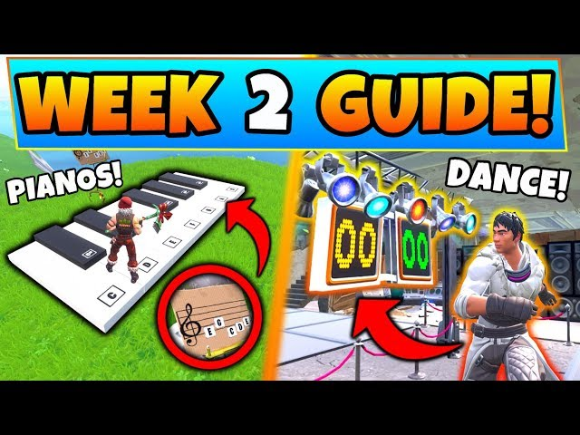 Fortnite WEEK 2 CHALLENGES GUIDE! - DANCE OFF, Sheet Music Piano, & Banner (Battle Royale Season 7)