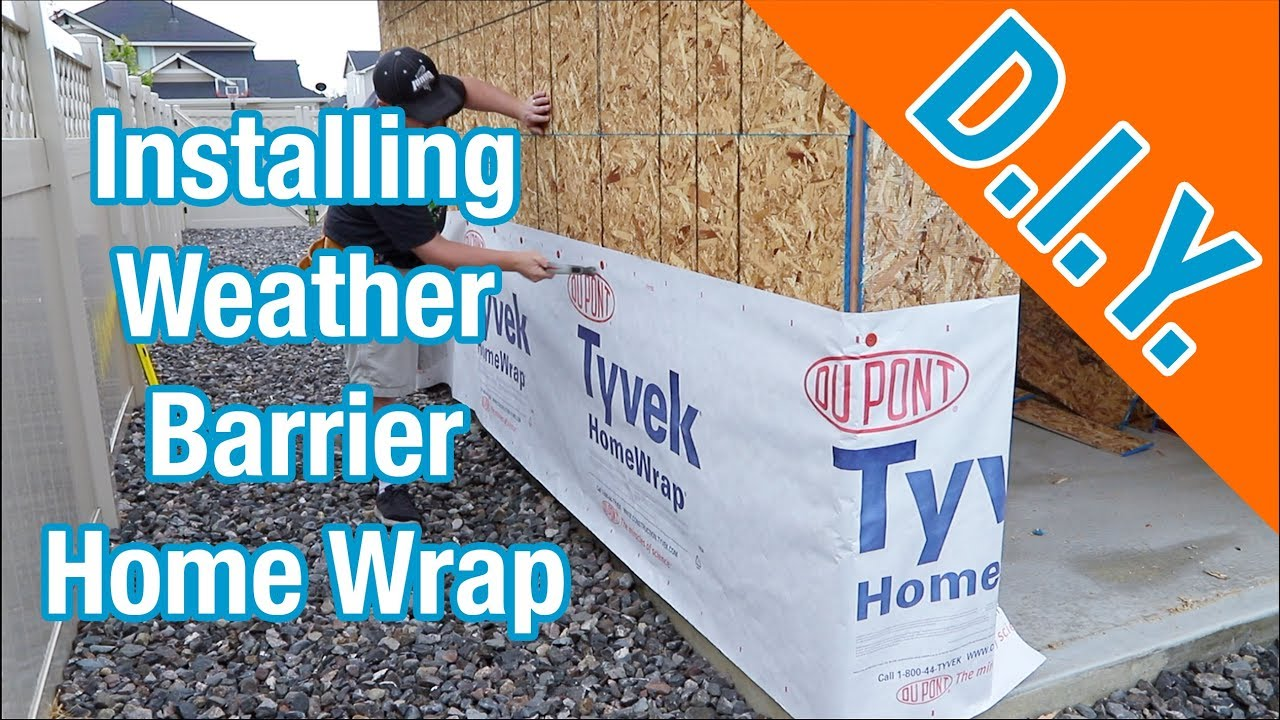 Installing Tyvek Weather Barrier House Wrap: How To Build A Shed ep 12