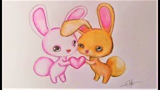 How to draw Cute Love Rabbits Step by Step   Art drawing tutorial easy