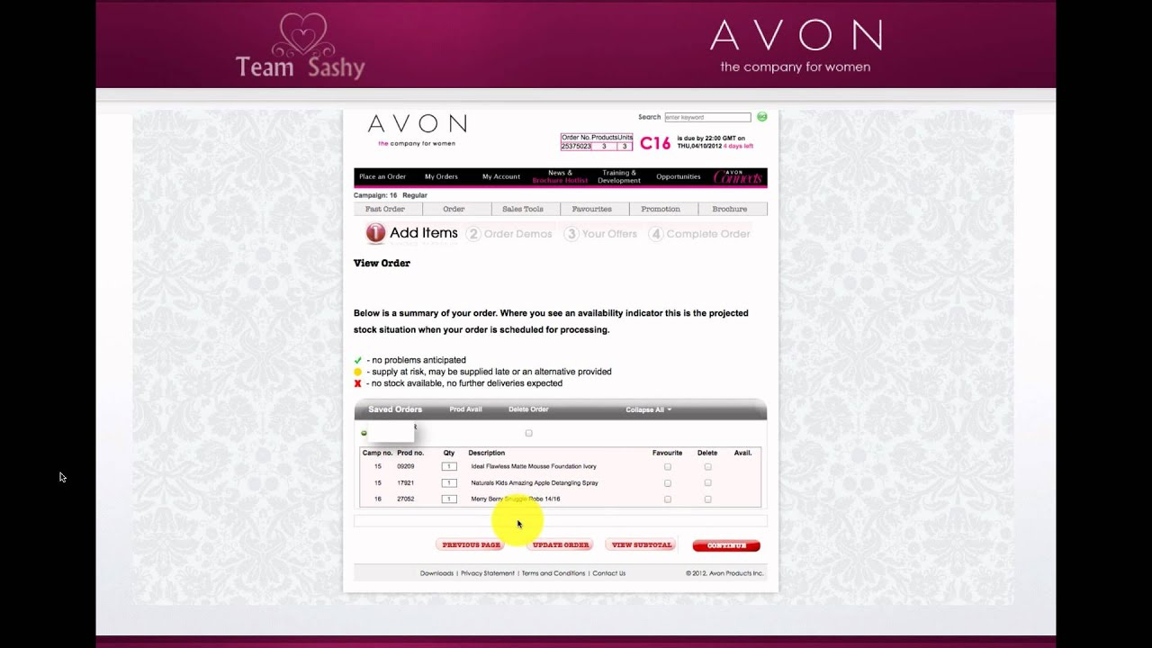 avon reps how to place an order tutorial youtube