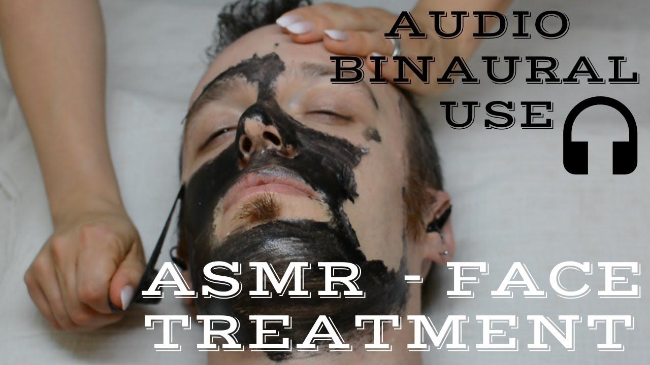 💆 - ASMR Facial Treatment | Beard Trim, Face Massage, Scrub, Tapping and Black Mask | Audio Binaural
