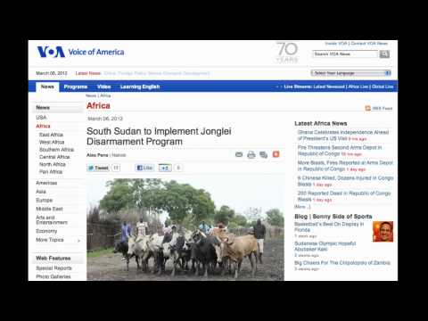 VOA Radio News: South Sudan to Implement Jonglei Disarmament Program