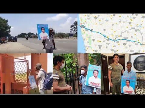 Sonu Sood's fan walks 700 km from Hyderabad to Mumbai barefoot to meet him