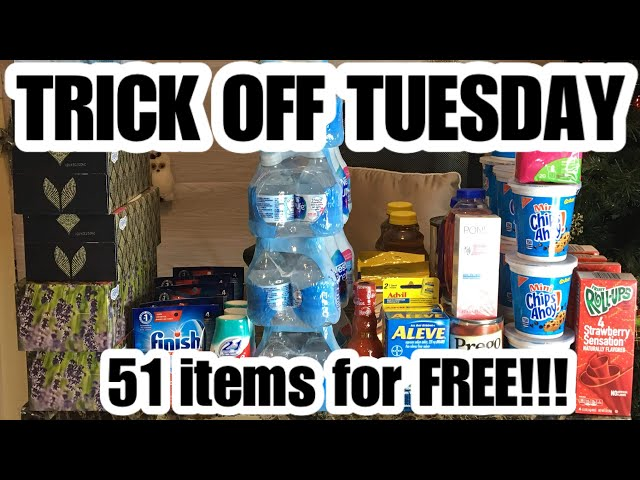 DOLLAR TREE COUPONING | 51 items for FREE!!! | Trick off Tuesday