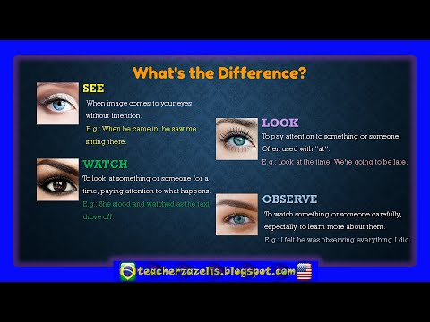 Difference Between See Look Watch And Observe Youtube