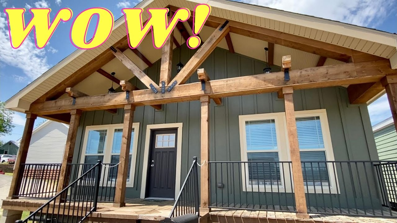 This home def has that WOW FACTOR! 2 porches & so much more inside this modular! Mobile Home Tour