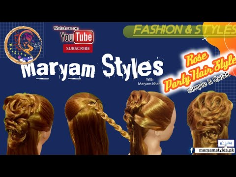 rose-flower-party-hair-style-|-easy-&-quick-|-simple-hairstyle-|-hairstyles-|-maryam-styles