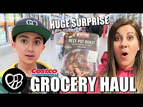 MASSIVE COSTCO GROCERY HAUL with HUGE SURPRISE | NEW COSTCO SHOPPING HACK | PHILLIPS FamBam Hauls