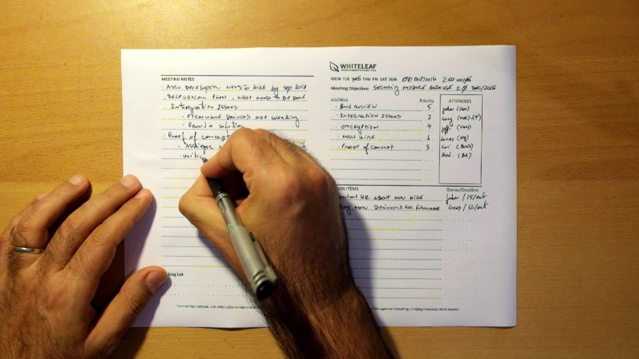 writing up minutes template